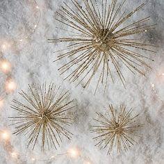 Glitter Burst Ornaments + Tree Topper #westelm