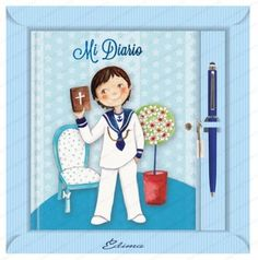 Diario Primera Comunión niño smile Libros para Primera Comunión  Diario de Primera Comunión en color azul con ilustración de niño con traje de marinero y biblia en la mano.  Incluido boligrafo touch.