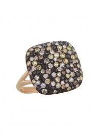 Caviar Confetti Cognac and Black Diamond Ring, 1.58 TCW