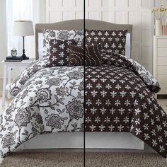 Lay back and enjoy life on this darling vintage-inspired floral 5 piece reversible comforter in brown and white. Unique, feminine and simply stunning, the set includes 2 Shams and 2 Decorative Pillows.