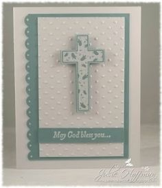 Baptism Card for Godson by JulieH by - Cards and Paper Crafts at Splitcoaststampers Confirmation Cards, Baptism Cards, Christening Cards For Boys, Scrapbook Bebe, First Communion Cards, Christian Cards, Scrapbooking, Boy Cards, Cricut Cards