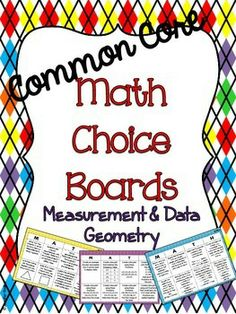 5th Grade Common Core Math Choice Boards! Choice boards for all the Measurement and Data and Geometry Standards. Perfect for centers, homework, enrichment, etc!