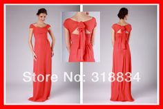 Vintage Sheath Bridesmaid Dresses 2014 New Custom Floor Length Long Cap Short Sleeve Open Back Ruched Chiffon Party Dress Gown-in Bridesmaid...