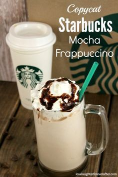 Copycat Starbucks Mocha Frappuccino Recipe - Love, Laughter, Foreverafter Do you love Starbucks frapuccino? Hurry and check out this super delicious Copycat Starbucks Mocha Frappuccino Recipe that will surely impress your friends. Starbucks Mocha Frappuccino Recipe, Starbucks Recipes, Coffee Recipes, Homemade Mocha Frappe, Starbucks Drinks, Starbucks Copycat Frappuccino Recipe, Starbucks Coffee, Frozen Frappuccino Recipe, Coffee Frappuccino