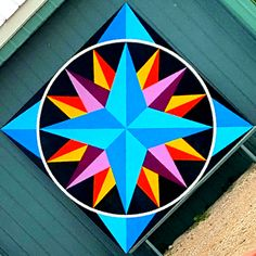 Impressive - read up on our site for additional schemes! Barn Quilt Designs, Barn Quilt Patterns, Quilting Designs, Star Quilts, Quilt Blocks, Painted Barn Quilts, Barn Signs, Mariners Compass, Colorful Rangoli Designs