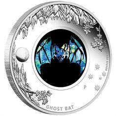 Australian Opal Series - Ghost Bat Silver Proof Coin 2015 Perth Mint coin, silver bullion , Australian coin ,silver coins, one ounce. Bullion Coins, Silver Bullion, Australian Animals, Australian Opal, 1 Carat, Perth, Silver Investing, Coin Auctions, Mint Coins