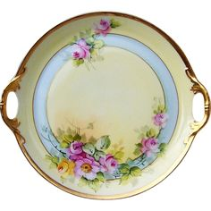 "Gorgeous Bavaria 1914 Hand Painted ""Pink & Yellow Roses"" Tray by the Pickard Artist, Max Klipphahn Old Plates, Antique Plates, Decorative Plates, Vintage Dishes, Vintage China, Yellow Roses, Pink Yellow, Hand Painted Ceramics, Painted Porcelain"