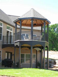 Gazebo On Deck, Backyard Gazebo, Gazebo Plans, Backyard Privacy, Backyard Ideas, Garden Ideas, Cabin Decks, Aluminum Decking, Backyard Buildings