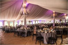 Purple and grey wedding reception inside the Meadow Brook tent. #arisingimages #michigan #wedding #photography #reception #details