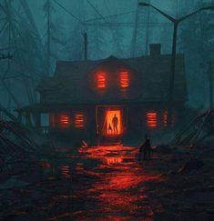 Art Anime, Creepy Art, Environment Concept Art, Environmental Art, Fantasy Landscape, Dark Fantasy Art, Insta Photo, Horror Art, Aesthetic Art