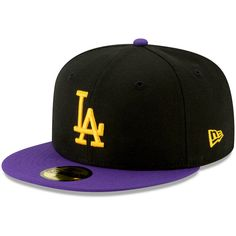 f707124048012 Men s Los Angeles Dodgers New Era Black Purple Crossover 59FIFTY Hat