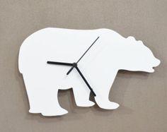 Polar Bear Kids Silhouette - Wall Clock