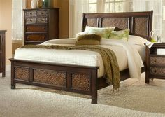 Kingston Isle Transitional Brown Wood Queen Sleigh Bed