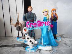 Anna. Elsa. Kristoff. Sven. Olaf. Frozen. Clay. Masa Flexible. Porcelana Fría. Polymer Clay. Fondant. Cake Topper.
