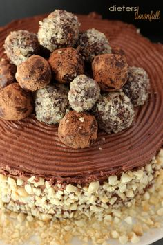 Chocolate Cake, Chocolate Mousse Frosting and Chocolate Truffles Topping