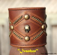 Brown Leather Cuff, Wristband with Antique Brass Spots, Skull Rivets, and Brass… Leather Bracers, Leather Cuffs, Leather Jewelry, Metal Jewelry, Brown Leather, Geek Jewelry, Gothic Jewelry, Jewelry Necklaces, Leather Wristbands