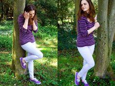 purple keds and rachel phipps   Sleeved Tee: Boden, Purple Skinny Jeans: Marks & Spencer , Purple Keds ...