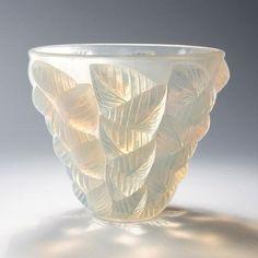 """French Art Deco glass vase, """"Moissac,"""" by René Lalique c. 1927. @Deidré Wallace"""