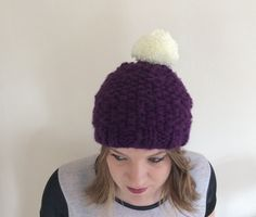 Hand knitted purple fleece lined hat with cream by KnitsByTash