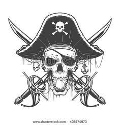 Illustration about Skull pirate illustration in vector. Illustration of halloween, flag, head - 70035538 Skull Pirate, Pirate Skull Tattoos, Pirate Flag Tattoo, Pirate Tattoo Drawings, Tattoo Crane, Totenkopf Tattoos, Skull Tattoo Design, Pirate Life, Badass Tattoos