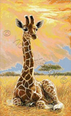 Newborn giraffe cross stitch kit or pattern