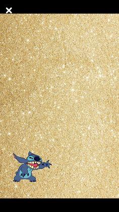 Stitch gold glitter wallpaper
