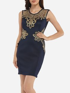 Round Neck Dacron Lace Patchwork Bodycon-dress Only $27.95 USD More info...