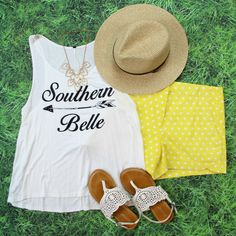Shop our BRAND NEW Southern Belle Tank Top in Ivory for ONLY $17! FREE SHIPPING ALWAYS!