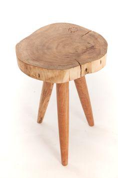 Tabouret bas rond en bois