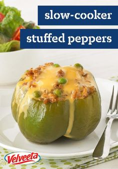 Slow-Cooker Stuffed Peppers – This slow-cooker recipe takes just 15 minutes of prep in the morning—so you can come home to a cheesy and tender stuffed pepper dish, featuring VELVEETA, in the evening.