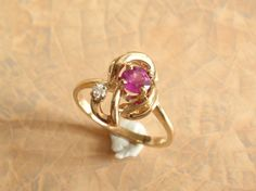 14k Gold Natural Pink Sapphire Ring Diamond Valentines Day. $437.00, via Etsy.