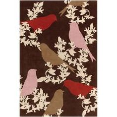 @Overstock - An eye-catching design highlights this designer rug. Hand-tufted in India using premium quality New Zealand wool. This rug features a birds-floral design in shades of ivory, red and pink against dark brown background.http://www.overstock.com/Home-Garden/Thomaspaul-Birds-Design-Hand-tufted-New-Zealand-Wool-Rug-79-x-106/5654742/product.html?CID=214117 $1,897.00
