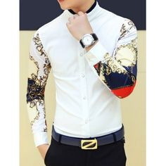 Stylish Personality Stand Collar Slimming Colorful Print Splicing Long Sleeves Men's Shirt, WHITE, M in Shirts   DressLily.com