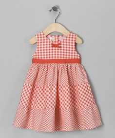 Take a look at this Peach Gingham Sundress - Infant, Toddler & Girls by Beebay on #zulily today!