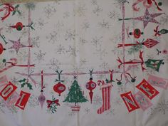 Vintage Luther Travis Christmas Tablecloth Rare Noel Design
