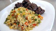 Hagymán sült csirkemáj zöldséges bulgurral Torte Cake, Fried Rice, Meat Recipes, Quinoa, Grains, Ethnic Recipes, Food, Bulgur, Liver Recipes