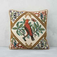 English Summer Bird from our Victoria and Albert Museum collection. Originally designed as part of a panel by Grace Christie (1872–1953) in 1914, the first teacher of embroidery at the Royal College of Art, English Summer Owl is an Edwardian love letter to the English countryside. English Summer, Tapestry Kits, Royal College Of Art, Needlepoint Patterns, Victoria And Albert Museum, Design Museum, Museum Collection, Textile Art, Original Artwork