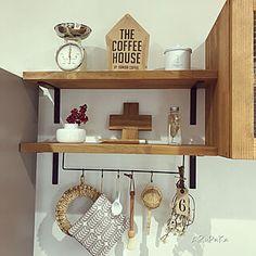 見せる収納/キッチン/コーヒーミル/KARITA/コーヒーのある暮らし...などのインテリア実例 - 2019-12-11 11:01:45 | RoomClip(ルームクリップ) Floating Shelves, Coffee, House, Home Decor, Kaffee, Decoration Home, Home, Room Decor, Wall Shelves