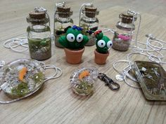 Dee Raa Arts polymer clay fimo sculpey premo resin cactus miniature fish pond plant pot mini bottle jar hand made