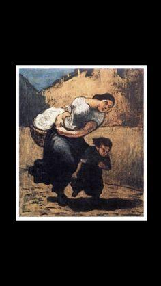 Honoré Daumier - Le fardeau (La laveuse), c. 1853 - Huile sur toile - 55,5 x 45,5 cm - Prague, Národni Galerie