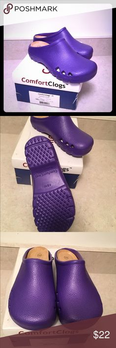 BRAND NEW purple clogs. Cutout ventilation sides New Comfort  purple clogs with cushioned insoles for comfort and all day wear. Gripping bottom sole for safety. Have cut out ventilation on each side of shoe. SZ XSm (5-6) Comfort clogs Shoes Mules & Clogs