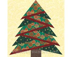 Pine Tree quilt block pattern, paper piecing quilt pattern, Christmas tree quilt paper pieced patter - Paper P - Christmas Quilting Projects, Christmas Quilt Patterns, Christmas Tree Pattern, Plaid Christmas, Modern Christmas, Christmas Balls, Christmas Stocking, Christmas Trees, Patchwork Quilting