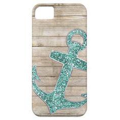 Girly Nautical Aqua Anchor & Wood Look iPhone 5 Cases
