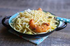 Spaghettis aux gambas et poireaux
