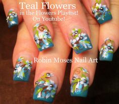 #nail #art #nailart #tutorial #design #teal #mint #blue #light #flowers #gliter #spring #trends #nails Here are my Teal Flower nails up NEW for Friday! Have fun painting!