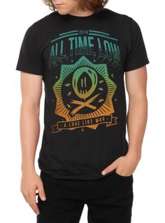 """All Time Low T-shirt with """"A Love Like War"""" neon ombre design."""