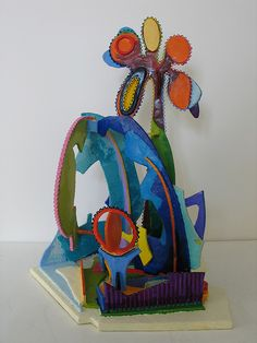 Cool cardboard sculpture...love the bright colors
