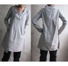 Lovely Asymmetrical Linen Dress/ 27 Colors/ Any Size/ by Ramies, $68.00