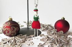 Christmas Doll Pendant Bead Crochet Red Green Doll Pendant