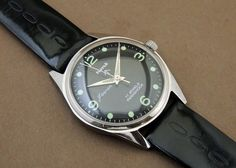 Vintage HMT Jawan HandWind 17Jewel India Mechanical Black Dial Military Watch #HMT #Casual